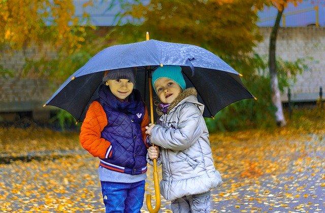 děti v dešti